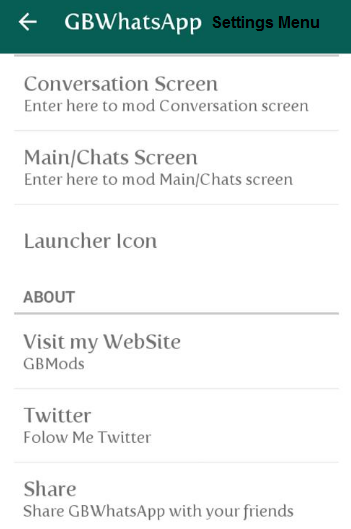 GBWhatsapp Apk Settings Screenshots