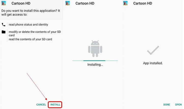 Cartoon HD Apk Install
